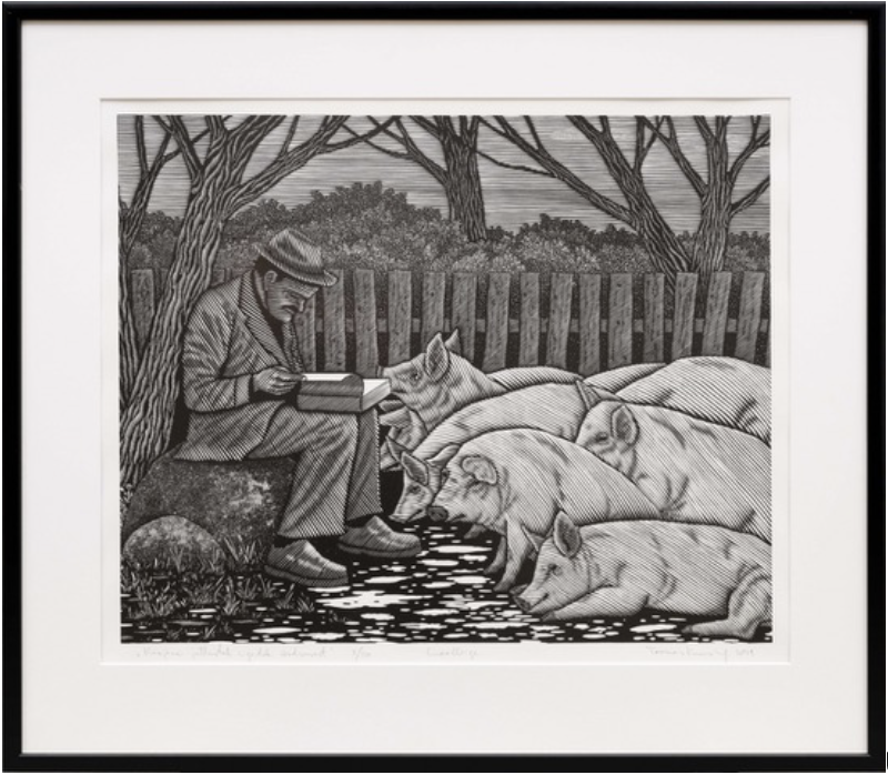 Toomas Kuusing. Herder preaches equality to pigs. 2019, linocut.