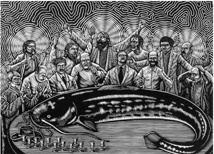 Toomas Kuusing. Me tapsime suure kala. 2015, linoollõige.